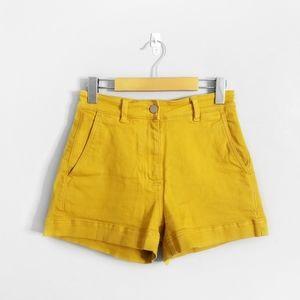 EVERLANE Yellow High Rise Cotton Twill Shorts